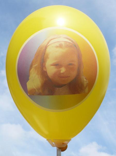CMYK Perfekt-Druck von Ballonpoint, Farb-Foto auf unsere Luftballons als Mehrfarbenaufdruck in Siebdruckverfahren auf gelben Ballon vom Ballonpoint