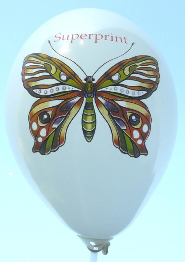 Schmetterling mit CMYK Perfekt-Druck auf unsere Luftballons der schöne Mehrfarbenaufdruck in Siebdruckverfahren auf roten Ballon vom Ballonpoint