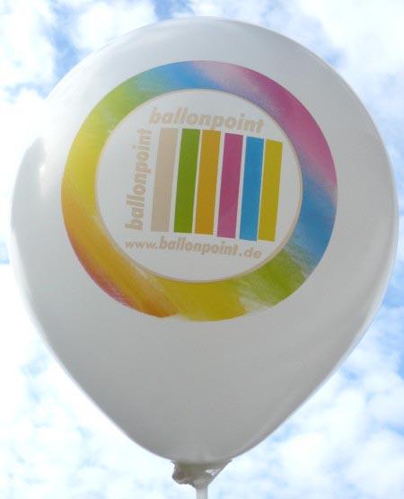 R100U-109 Ballonpoint Perfekt-Druck mit einem 6 Farbenaufdruck in Siebdruckverfahren auf weißem extra starken Ballon vom Gummiwerk Cz&F