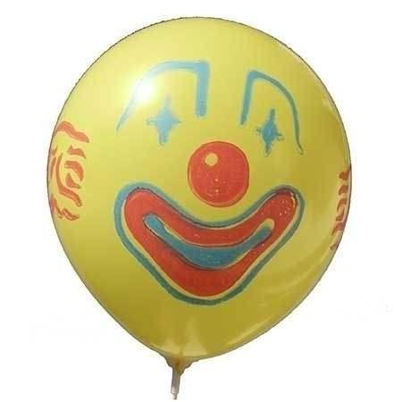 CLOWN Gesicht Ø 100cm  GELB mit  1seitig - 2farbig bedruckter extra starker Riesenballon MR265-12, Ballonstutzen unten.