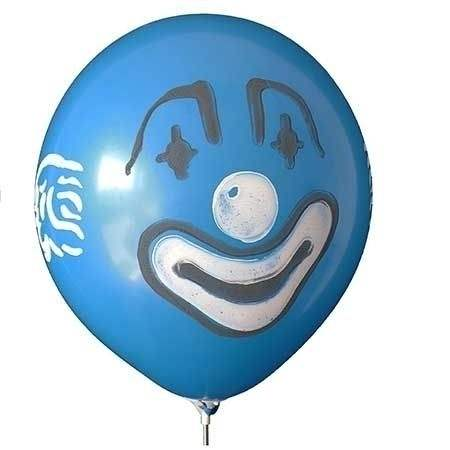 CLOWN Gesicht Ø 210cm  WEISS mit  1seitig - 2farbig bedruckter extra starker Riesenballon MR650-12, Ballonstutzen unten.
