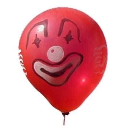 CLOWN Gesicht Ø 80cm ROT, 1seitig - 2farbig bedruckter extra starker Riesenballon MR225-12,  Ballonstutzen unten