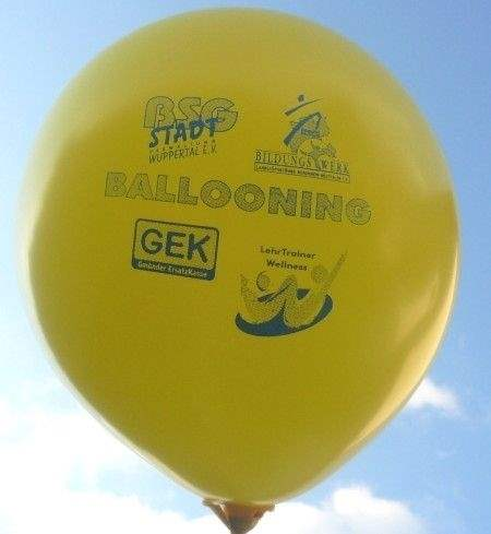 Ø 39cm extra stark, GELB , 2seitig 2farbig bedruckt Werbeluftballon WR120U-22, Ballonstutzen unten, Druck in Siebdrucktechnik