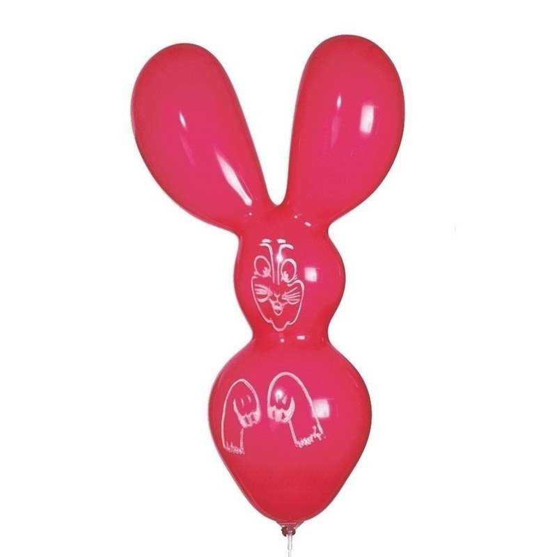F03-080-S short rabbit with short ears, printed Balloon colour - assorted