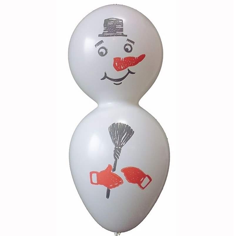 F12s Schneemann ~85cm groß, Latexfigur, Ballonfarbe WEIß mit Standardaufdruck ohne Zubehör. Standard
