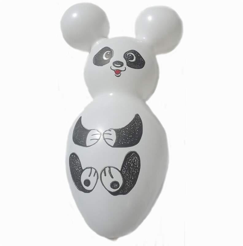 F05pN02 Pandabär ~70cm groß Latexfigur Standard, Motiv-N02, roter Mund,  Ballonfarbe nach Auswahl, mit Sonderaufdruck ohne Zubehör.