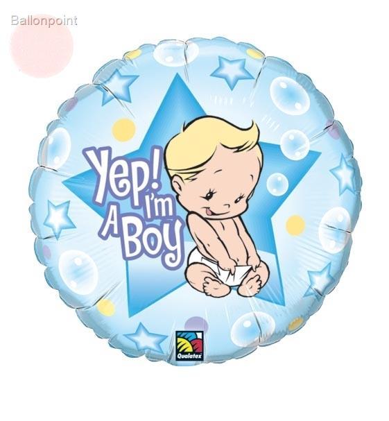 "FOHM045-980BA Geburt Boy Folienherzballon Rund 45cm  (18"") - Yep! I'm a Boy -"
