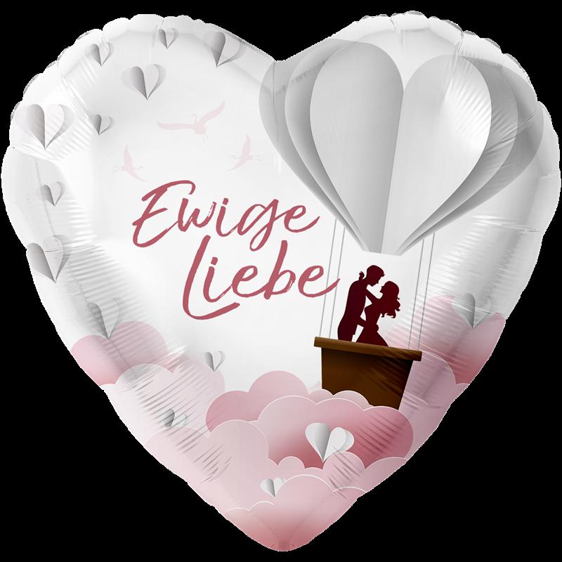 1 Folienballon - XXL Ø 71cm/18inch  - Ewige Liebe , Druck mehrfarbig