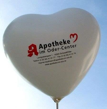 40cm breite Herzballons, extra stark  - BUNTER MIX - mit Ihrem Wunschaufdruck, 1seitig 2farbig, Druck in Siebdrucktechnik