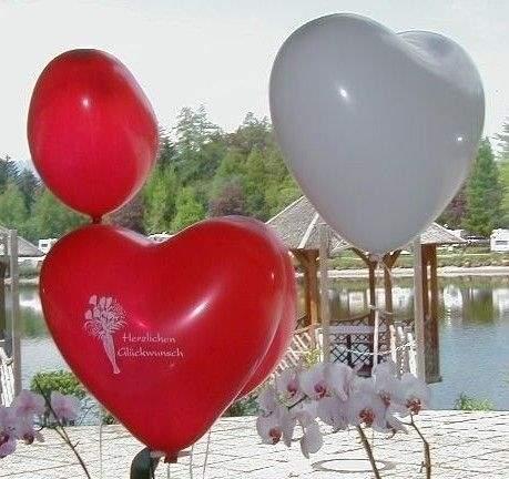 H070N HERZ 70cm breit, BUNTE MISCHUNG unbedruckt,  extra starke Herzballons
