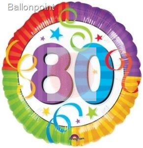 FOBM045-115115F  Folienballon Happy Birthday ohne Text nur Zahl 80