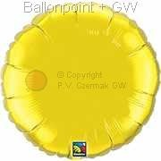 "FOBR045-047BA Uni-Folienballon Ballonfarbe Zitronengelb, Form Rund Ø 45cm (18"") unaufgeblasen"