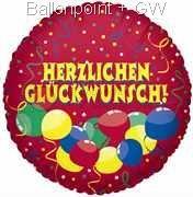 """FOBM045-0839DE Folienballon Rund 45cm  (18"""") Glückwünscche, Art.Gruppe F240"""