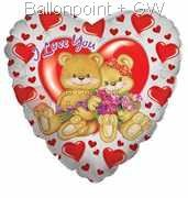 FOBHM045-5037E Herz-Folienballon I love you Bears