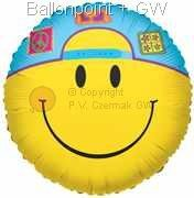 "FOBM045-5031E Smiley Cap Motivballon 45cm(18"") ohne Text Aufdruck"