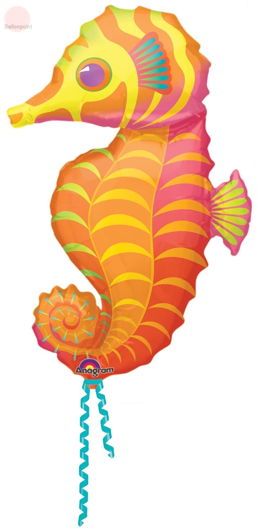 """FOBF089-0619601A Seahorse 59x89cm(23x35"""") Seepferdchen, für Ballongas und Luftfüllung geeignet"""