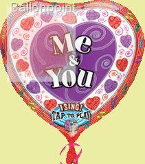 "FOBM072-1306703PL 72cm(28"") Singing Balloon Love Ballon, Me & You Spielt: It takes Two"