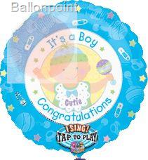 "FOBM072-1290601PL 72cm(28"") Singing Balloon, Geburt Boy Text: It's a Boy Cong."