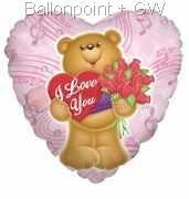"FOBH045-5036E Folienherzballon 45cm(18""), Bear heart & roses,  F240, price per ea"