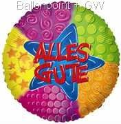 "FOBM045-660914E ALLES GUTE Folienballon Rund 45cm  (18"")  Metalic foil balloon with ribbon"