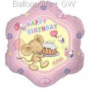 FOB045-665530E Folienballon Lillebi Happy Birthday, Mouse with cake