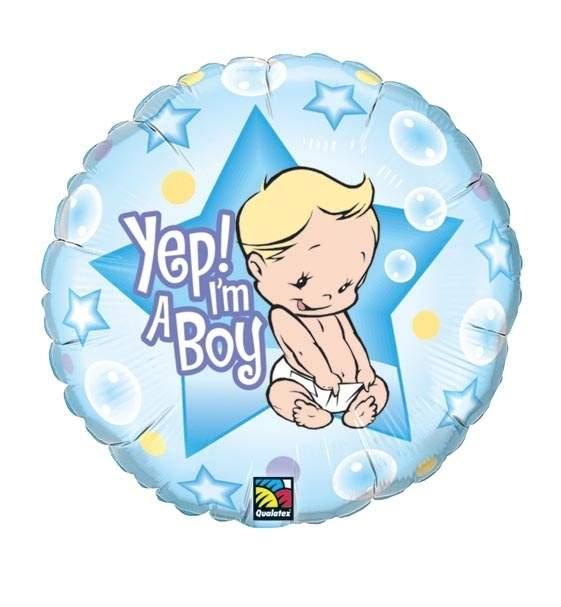 FOHM045-980BA Geburt Boy Folienherzballon Rund 45c