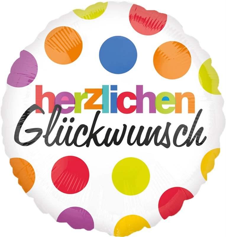 """herzlichen Glückwunsch, Folienballon Rund 45cm  (18"""")  Motiv: bunte Kreise"""