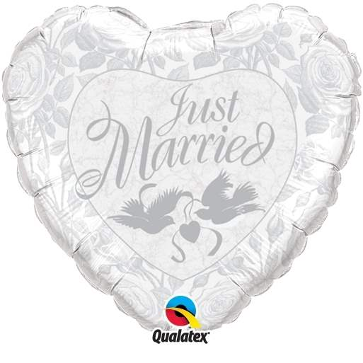 """FOBM045-3045597A Motiv heart balloon 45cm(18"""") print with just Married, price per piece"""