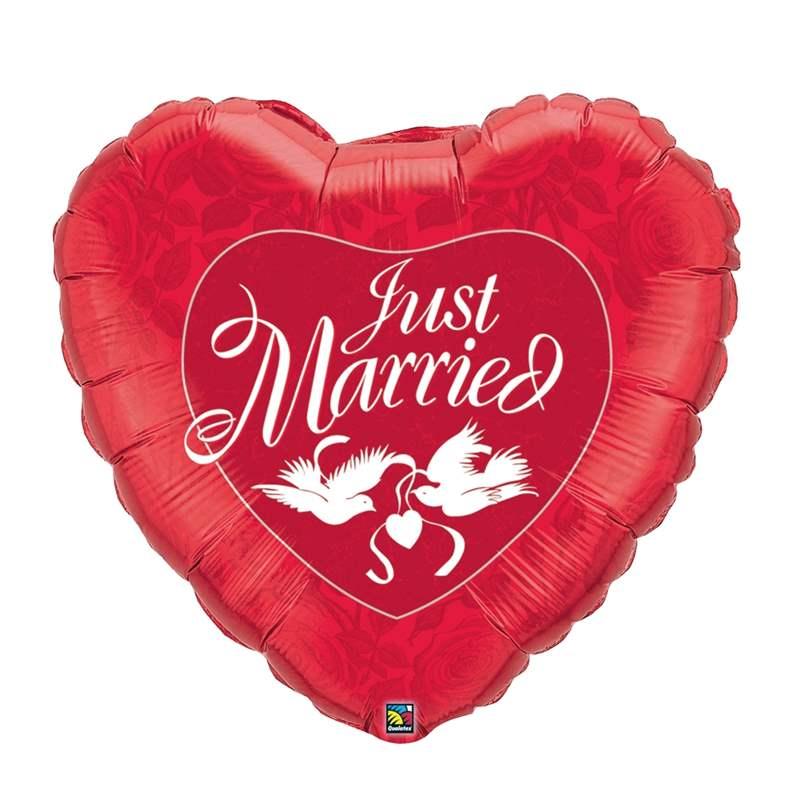 """FOBM090-3090598BA Rot Motivherzballon 91cm(36"""") mit Aufdruck Just Married mit Tauben"""