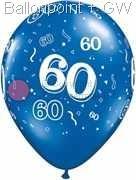 R085Q-0088-60 Zahlen-Latexballon Rund Ø28cm, Druck mit 60 rundum, Ballonfarbe bunter Mix