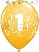 R085Q-0250-1 Zahlen-Latexballon Rund Ø28cm, Druck mit 1 rundum, Ballonfarbe jeweils wie abgebildet.