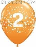 R085Q-0251-2 Zahlen-Latexballon Rund Ø28cm, Druck mit 2 rundum, Ballonfarbe jeweils wie abgebildet.