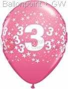 R085Q-0252-3 Zahlen-Latexballon Rund Ø28cm, Druck mit 3 rundum, Ballonfarbe jeweils wie abgebildet.