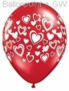 R085Q-0151-R nominal size 28cm wedding roundballoon Colours red Ø 22/30cm hearts color white