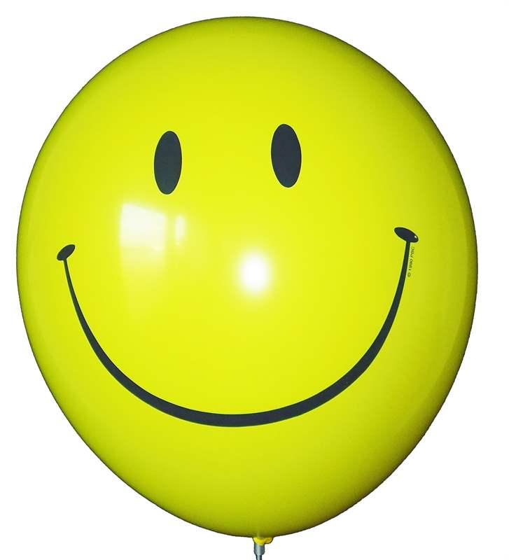 R135Q-40087 Smile in Gelb Latexballon Rund in Gelb Ø40cm, inkl. Druck