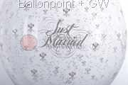 STR045-MQ04-25 Ø45cm Hochzeits Stufferballon bedruckt mit Just Married, Transparent