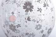 STR045-MQ06-25 Ø45cm Hochzeits Stufferballon bedruckt mit Blumen, Transparent