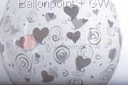 STR045-MQ07-25 Ø45cm Stufferballon bedruckt mit Herzen, Transparent