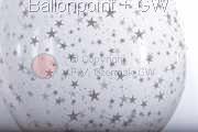 STR045-MQ09-25 Ø45cm Stufferballon bedruckt mit Sterne, Transparent