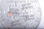 STR045-MQ011-25 Ø45cm Hochzeits Stufferballon bedruckt mit - Alles Gute zur Hochzeit -, Transparent