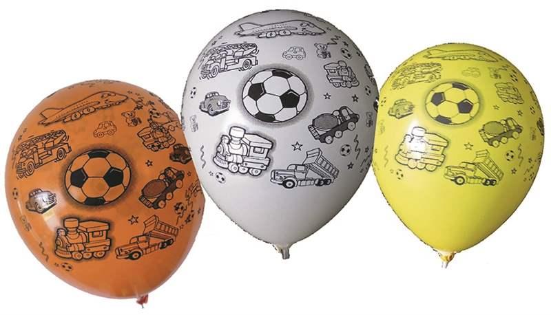 MR100-2999-51H-Boy Ø33cm Motivballon  Boy bunter Mix, Druck in schwarz mit Spielmotive für Buben Aufgedruckt