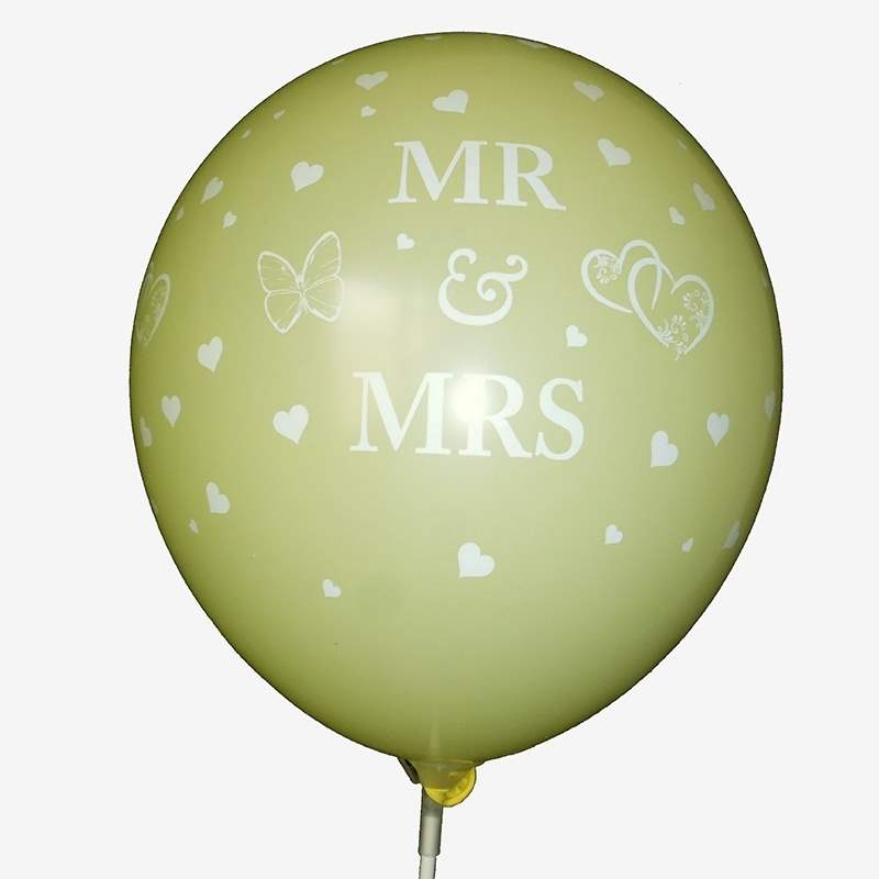 BMR100-51 wedding motiv balloon, balloncolor ivory, price per piece, 5 site printed