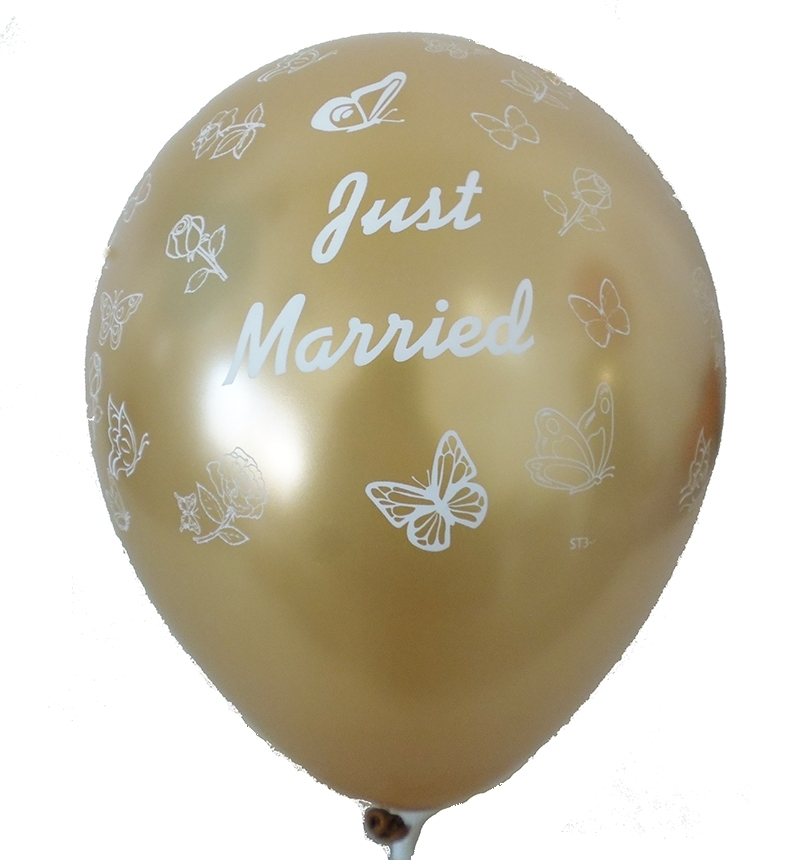 BMR100-51 wedding motiv balloon, balloncolor silver, price per piece, 5 site printed