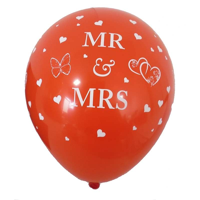 BMR100-51 wedding motiv balloon, balloncolor red, price per piece, 5 site printed