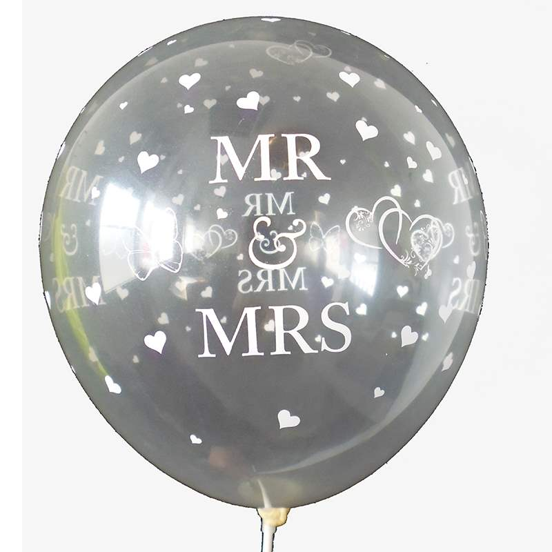 BMR100-51 wedding MR. & MRS. motiv balloon, balloncolor perlwhite, price per piece, 5 site printed