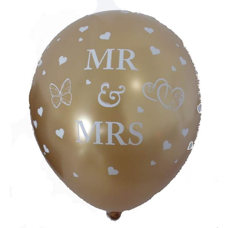 BMR100-51 wedding MR. & MRS. motiv balloon, balloncolor gold price per piece, 5 site printed