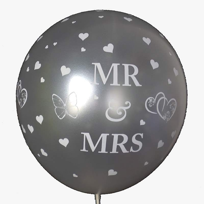 BMR100-51 wedding MR. & MRS. motiv balloon, balloncolor silver price per piece, 5 site printed