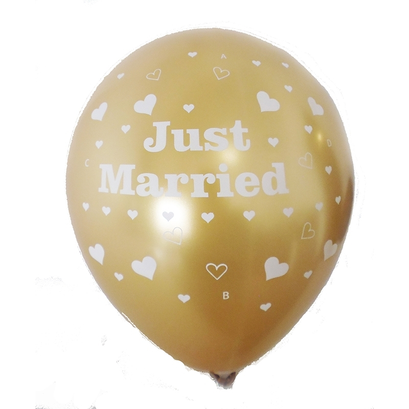 BMR100-51 wedding 3 motiv balloon, balloncolor gold price per piece, 5 site printed
