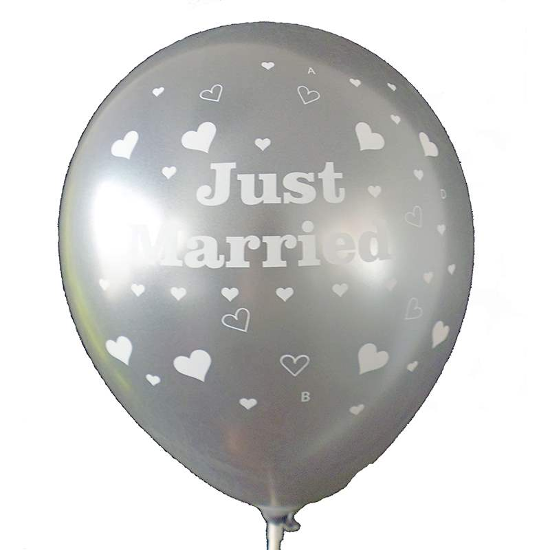 BMR100-51 wedding MR. & MRS. motiv balloon, balloncolor Diamont Clear price per piece, 5 site printed