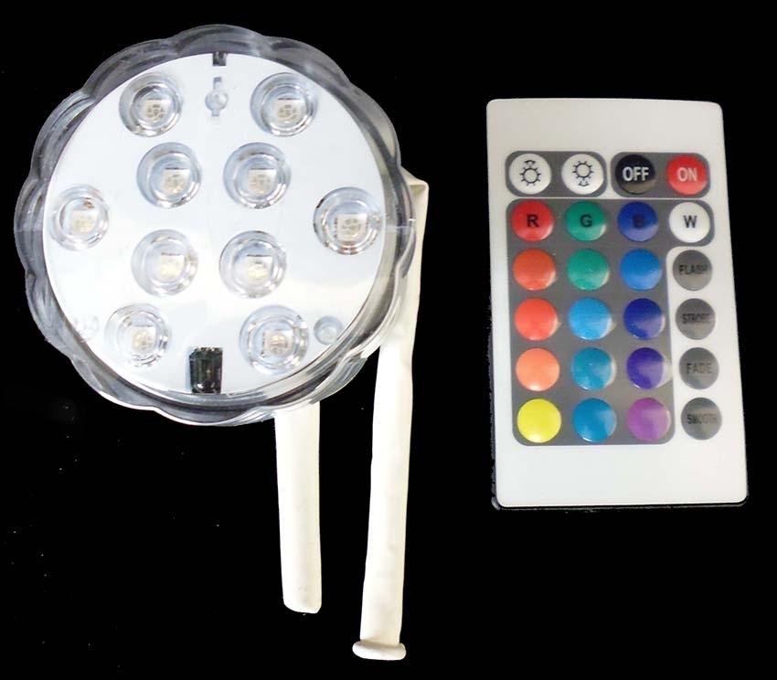 RGB LED Ballonbeleuchtung inkl. Fernbedieneinheit, geeignet für R175-R650 ( Ø40-210cm ). Stimmungs RGB-LED Farben bunt,  Brenndauer mit Batterie ~12 Std, Helligkeit (~ 10Lux an Ballonhaut). Ballonlampe inkl. Batterie 3x AAA.